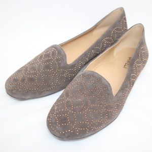 NEW Vaneli Gray Suede Taupe Studded Flats